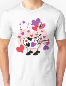Cow Love with a Bumble Bee Unisex T-Shirt