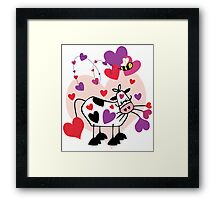 Cow Love with a Bumble Bee Framed Print