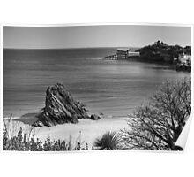 Goscar Rock North Beach Tenby Mono Poster