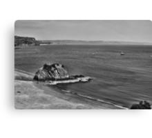 Goscar Rock North Beach Tenby Pembrokeshire Mono Canvas Print
