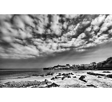Tenby Harbour North Beach View 2 Mono Photographic Print