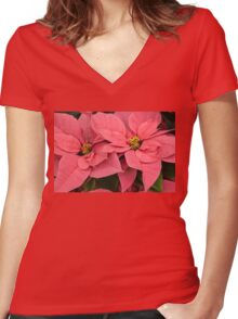 Christmas Greetings with a Vivacious Pink Poinsettia Women's Fitted V-Neck T-Shirt
