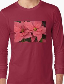Christmas Greetings with a Vivacious Pink Poinsettia Long Sleeve T-Shirt