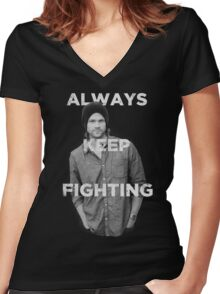 Keep Fighting Women's Fitted V-Neck T-Shirt