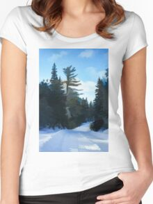 Winter Mood Impressions - Snowy Road in Algonquin Women's Fitted Scoop T-Shirt