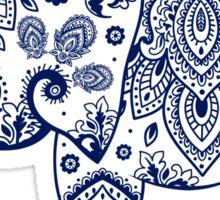 Blue Floral Elephant Illustration Sticker