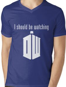 I should be watching Doctor Who Mens V-Neck T-Shirt