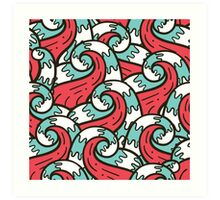 Crazy tangle doodle sea waves pattern Art Print