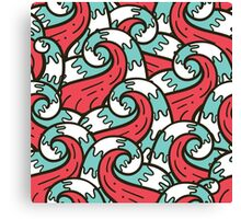 Crazy tangle doodle sea waves pattern Canvas Print