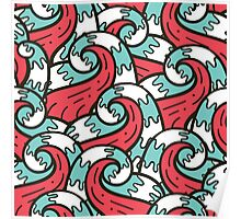 Crazy tangle doodle sea waves pattern Poster