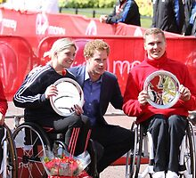 Shelley Woods and David Weir with Prince Harry. by Keith Larby