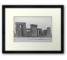 Stonehenge in the snow Framed Print