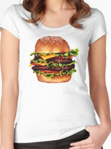 Double Cheeseburger 2 Pattern Women's Fitted Scoop T-Shirt