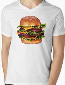 Double Cheeseburger 2 Pattern Mens V-Neck T-Shirt
