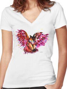 Flying Owl Women's Fitted V-Neck T-Shirt