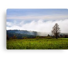Foggy Hilltop Sunrise Landscape Canvas Print