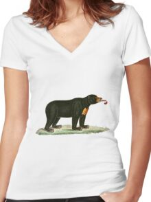 Brown Bear with long curly tongue Vintage Illustration Women's Fitted V-Neck T-Shirt