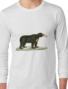 Brown Bear with long curly tongue Vintage Illustration Long Sleeve T-Shirt