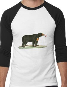Brown Bear with long curly tongue Vintage Illustration Men's Baseball ¾ T-Shirt