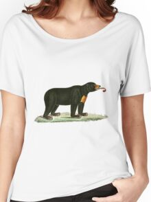 Brown Bear with long curly tongue Vintage Illustration Women's Relaxed Fit T-Shirt