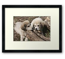 The Girls Sampling A Log Framed Print