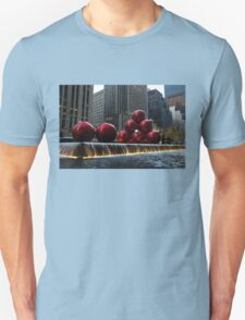 A Christmas Card from New York City - a 5th Avenue Fountain with Giant Red Balls Unisex T-Shirt