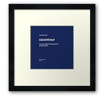 Dictionary Project - Raconteur Framed Print