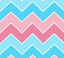 Pink and Blue Chevron  by runninragged