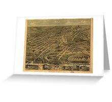 Panoramic Maps Bird's eye view of the city of Akron Summit County Ohio 1870 Greeting Card
