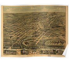 Panoramic Maps Bird's eye view of the city of Akron Summit County Ohio 1870 Poster