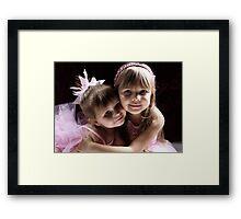 Sisters Wearing Pink Framed Print