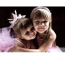 Sisters Wearing Pink Photographic Print