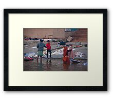Laundry On The Rocks Framed Print