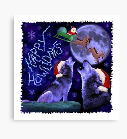 Funny Christmas Happy Howlidays Wolf Pun Humor Canvas Print