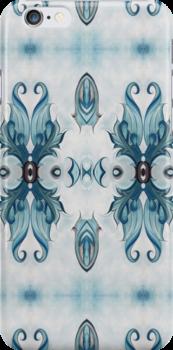 Blue Baroque Leaf Scroll-r100 by Heidivaught