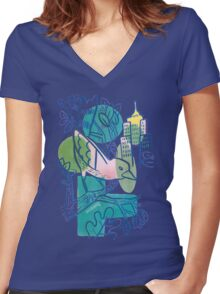 City Tweets Women's Fitted V-Neck T-Shirt