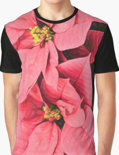 Pink Poinsettias Painting - Christmas Impressions Graphic T-Shirt