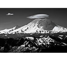 Rainier with clouds Photographic Print