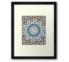 Baroque Blue yellow Rosette-R002 Framed Print