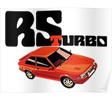 RS Turbo Ford Escort Classic Car Poster