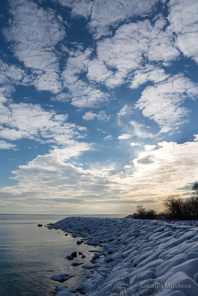 Cirrocumulus Clouds and Sunshine - Lake Ontario, Toronto, Canada by Georgia Mizuleva