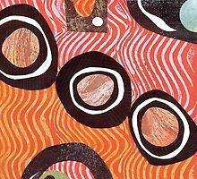 Funky retro orange print by bearoberts