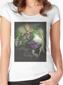 Happy Holidays Angel 1 Women's Fitted Scoop T-Shirt