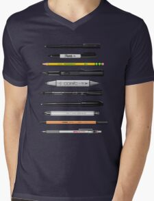 Pen Collection For Sketching And Drawing (Plain) Mens V-Neck T-Shirt