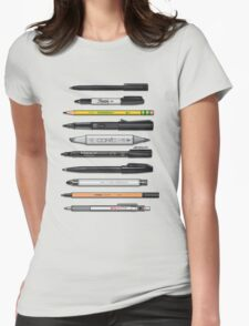 Pen Collection For Sketching And Drawing (Plain) Womens Fitted T-Shirt