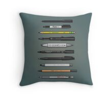 Pen Collection For Sketching And Drawing (Plain) Throw Pillow