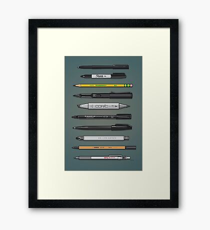 Pen Collection For Sketching And Drawing (Plain) Framed Print