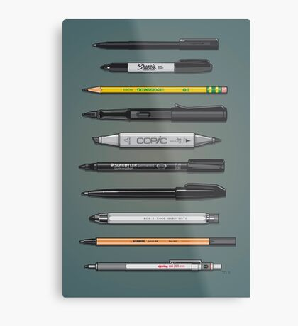 Pen Collection For Sketching And Drawing (Plain) Metal Print