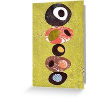 Orange lime green black white retro eames era art Greeting Card