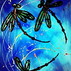 "Dragonfly Flit ""Electric Blue"" by lyndseyart"